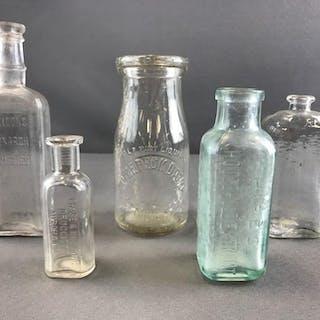 Group of 5 vintage glass bottles