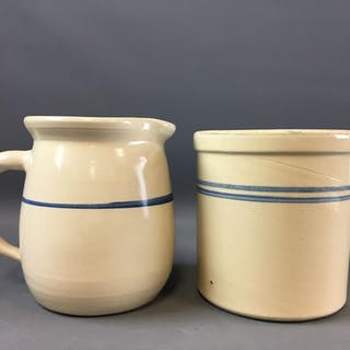 Group of 2 Vintage Stoneware Crock and Pitcher