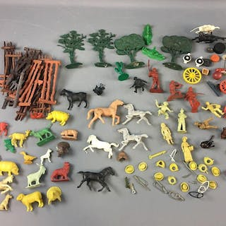 Group of Vintage Plastic Farm Animals and more