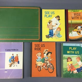 Group of 7 Vintage Childrens Books and Chalkboards