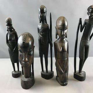 Group of 5 hand crafted African artwork figures