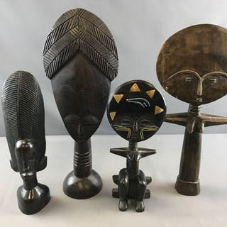 Group of 4 hand crafted African artwork figures