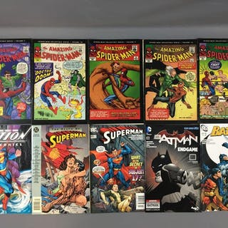 Group of 10 Superman, Spider-Man and Batman Comics