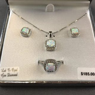 Sterling Silver Opal, white sapphire diamond accent jewelry set