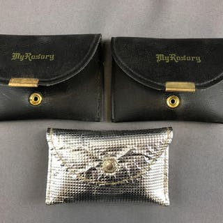 Group of 3 vintage rosaries in pouches
