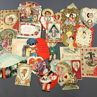 Large group of Antique Valentines