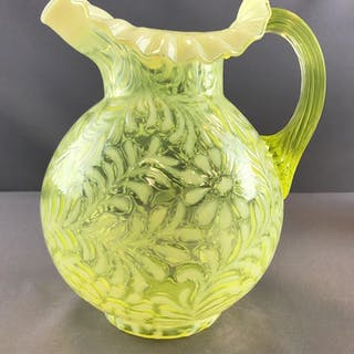 Vintage Fenton Fern and Daisy art glass yellow opalescent pitcher