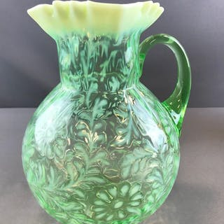 Vintage Fenton art glass Daisy and Fern Pitcher Opalescent green