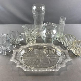 Group of 9 clear glass items