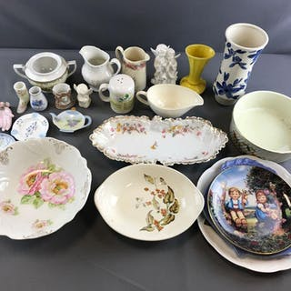 Group of Random items including plates, vase, salt shaker, bowls