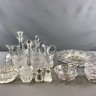 Group of clear pressed glass cruets and more