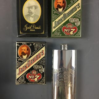 Group of 4 Jack Daniels Flask and Playing Cards