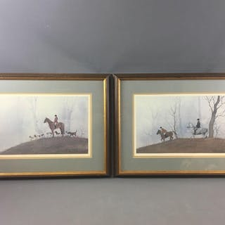 Group of 2 Signed Hunting Scenes Prints