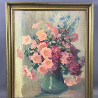 Signed Floral Design Oil Painting on Canvas