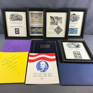 Group of framed stamps, stamp collections and more