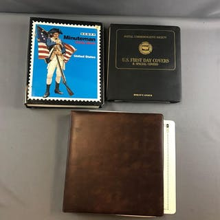 Group of 3 stamp albums, minuteman, first day covers and more