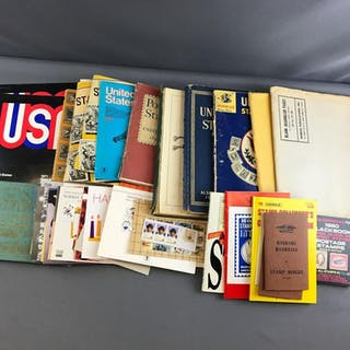Group of stamp collecting books, stamp folios and more