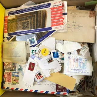 Group of stamps, envelopes and more