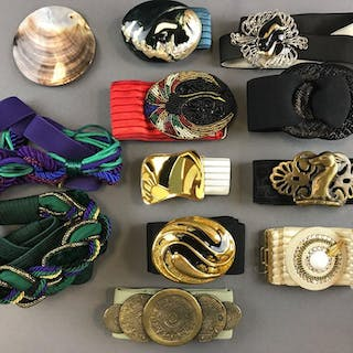 Group of 12 vintage belts and belt accessories