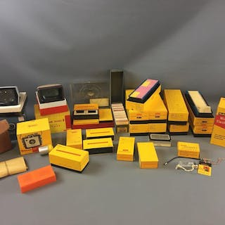 Group of Vintage Kodak Brownie Camera, Slides, Slide Trays and more