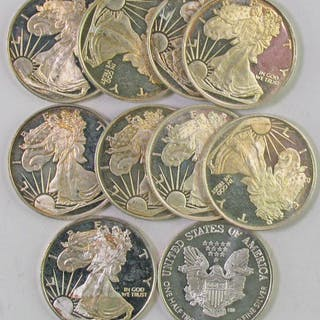Lot of (10) One Half Troy Ounce Silver Eagle Silver Rounds.