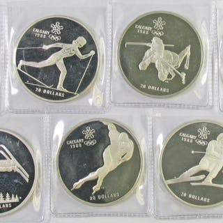 Lot of (7) Canada 1985 & 1986 20 Dollars Calgary Olympic Sterling