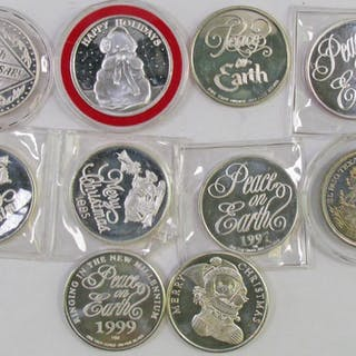 Lot of (10) One Troy Ounce Art Rounds .999 Fine Silver.
