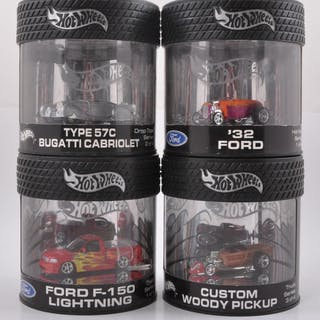 Group of 4 Hot Wheels Die-Cast Vehicles in Collector Cases