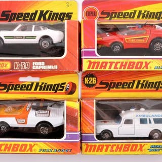 Group of 4 Matchbox Speed Kings Die-Cast Vehicles with Original Boxes