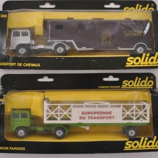 Group of 2 Solido French Market Die-Cast Semi Trucks and Trailers