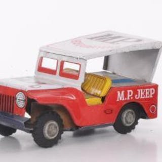 Group of 3 Japanese Tin Friction Toy Jeeps