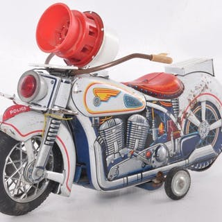Modern Toys Japanese Tin Litho Battery Operated Police Motorcycle