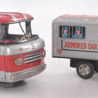 Group of 2 Japanese Tin Litho Armored Car Savings Bank Coin Bank Friction Toys