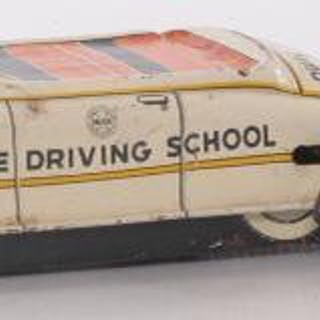 Group of 4 Japanese Tin Litho Wind Up Toy Cars and Locomotives