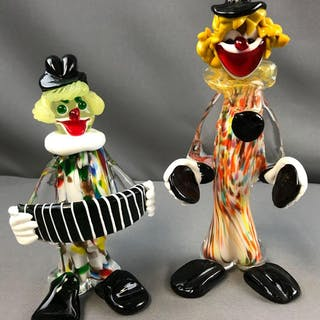 Group of 2 vintage Murano Glass clown figurines