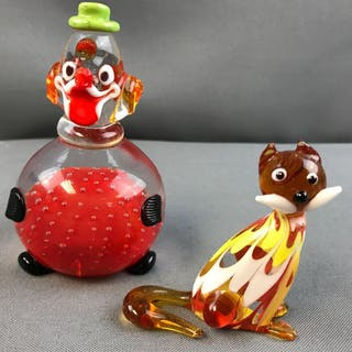 Group of 2 vintage Murano glass figurines