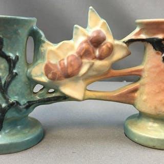 Vintage Roseville Magnolia Double Bud Vase No. 186