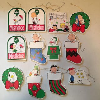 Group of 12 Wooden Peanuts Christmas Ornaments