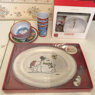 Group of Pottery Barn Kids Peanuts plate set, platter with spreader