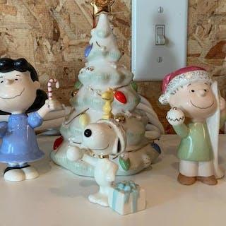 Group of six Lenox peanuts Christmas porcelain figurines