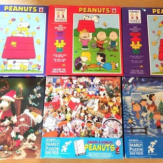 Lot of 6 Peanuts Snoopy Puzzles
