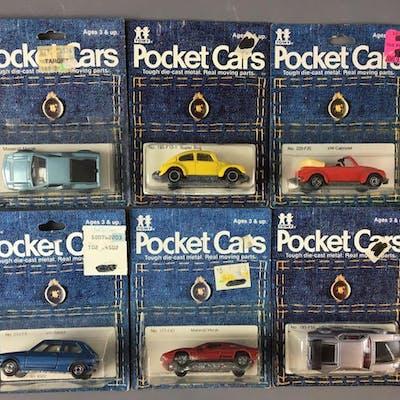 Group of 6 Tomy Pocket Cars Die-Cast Vehicles In Original Packages