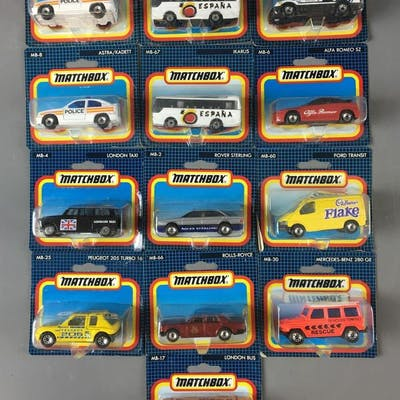 Group of 13 Matchbox Die-Cast Vehicles In Original packages