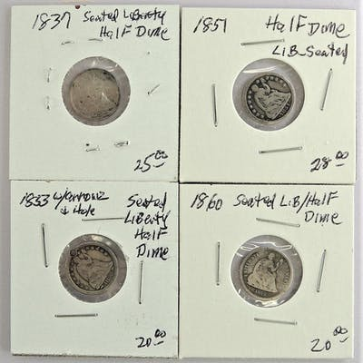 Lot of (4)?Seated Liberty Half Dimes.