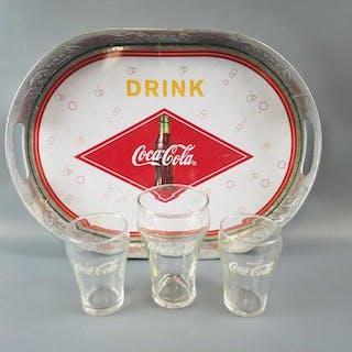 Coca Cola Tray & 3 Glasses.