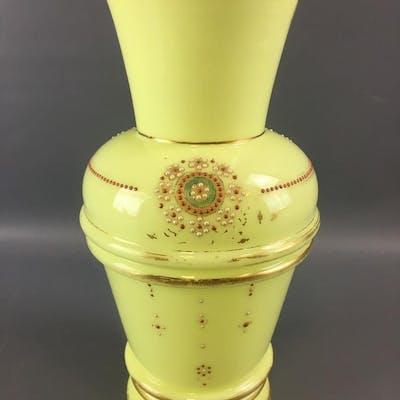 Victorian Handpainted Yellow Glass Vase.