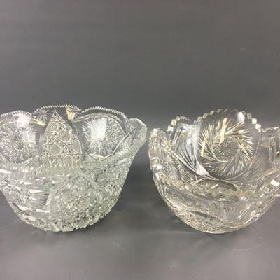 Group of 2 Clear Cut Glass Bowls.