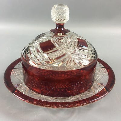 1894 Tacoma Ruby Stained Butter Dish.