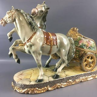 Large Benrose Italy 51 Horses & Chariot Porcelain Sculpture.