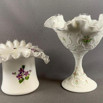 Group of 2 Fenton milk glass items with floral designs